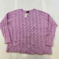 LANDS END WOMEN SIZE 1X PURPLE 100% COTTON CABLE KNIT SWEATER NWT