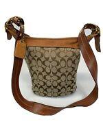 Vintage Coach 11437 Signature Leather Womens Handbag Purse Brown