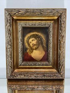 """Victorian design Wood Picture Frame Fits 4 1/2""""x 6"""" w/ picture of Jesus on board"""