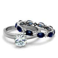 2175 SAPPHIRE SOLITAIRE WEDDING BAND SET RING STAINLESS STEEL SIMULATED DIAMONDS