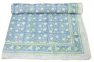 Hand Block Print Indian Cotton Nursery Baby Kantha Quilt Bed Cover Throw Blanket