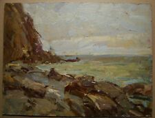Russian Ukrainian Oil Painting Impressionism Seascape cliff ground swell