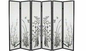 6 Panel Bamboo Print Wood Shoji Room Divider Screen NEW