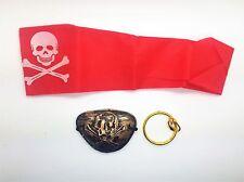 Gold Pirate Fancy Dress Set Bandana Clip on Earring Plus Eye Patch Halloween