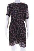 Isabel Marant Womens Sheer Spotted Crew Neck Short Sleeve Blouson Dress Size 6