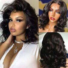 Short 13×4 T Part Lace Front Human Hair Wigs Virgin Remy Wave Brazilian Black