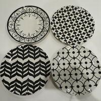 "Pottery Barn Black & White Geometric Pattern Salad Plates Brazil 8 1/4"" Set Of 4"