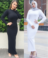 Women Stretch Long Sleeve Maxi Dress Muslim Bodycon Abaya Dubai Gown Robe Kaftan
