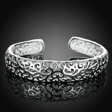 925 Sterling Silver Fashion Flower Wristband Bracelet Bangle One Size Fit All