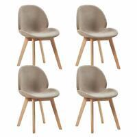4er Set Polsterstuhlset Esszimmerstühle mit Sitzfläche aus Leinen Vintage Design