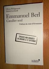 Emmanuel Berl, cavalier seul (bio Vuibert sept. 2017 épreuves non corrigées)