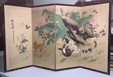 Japanese (Byobu) 4-Panel (Signed) Vintage Folding Screen Taste of Spring