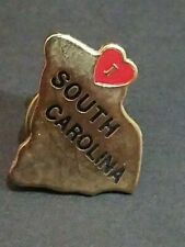 I LOVE SOUTH CAROLINA HEART TAC PIN PINBACK HAT PIN EXCELLENT CONDITION