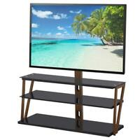 """3 Tier Glass Shelf Floor TV Stand with Swivel Mount for 32"""" - 65"""" Flat Screens"""