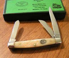 MOORE MAKER New White Jigged Bone Handle 3 Blade Medium Stockman Knife/Knives