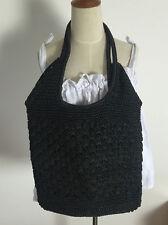 100% handmade big black vintage straw bag upright summer linen craft bag boho