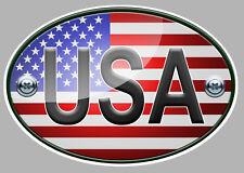 OVALE DRAPEAU USA FLAG 12cm AUTOCOLLANT STICKER AUTO MOTO (OA022)
