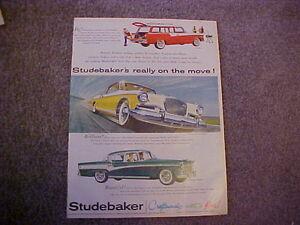 original 1956 Studebaker Pelham,Golden Hawk,President LARGE color vintage ad--56