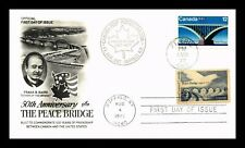 DR JIM STAMPS US PEACE BRIDGE COMBO FIRST DAY COVER UNSEALED DUAL CANCEL