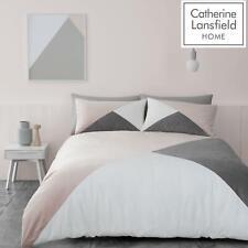 Catherine Lansfield Milena Velvet Blush Duvet Covers Geometric Grey Bedding Sets