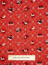Cowboy Western Wagon Horse Red Cotton Fabric Robert Kaufman Ride'Em Cowboy YARD