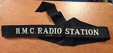 "RCN Canada Royal Canadian Navy HMC RADIO STATION sailor hat cap tally ribbon 39"""