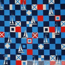BonEful Fabric Cotton Quilt Usa Red White Blue Nautical Sail Boat Check 99 Scrap