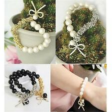 Retro Charm Bow Cuff Butterfly Sweet Beads Chain Bangle Black Pearl Bracelet