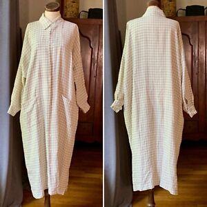 Rare ESKANDAR 0 O/S WHITE NATURAL French Gingham Check Linen Dress Duster