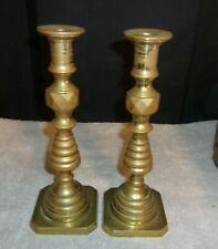 """2 Brass Candle Holders base from Italy 9 1/2"""" Tall Almost 5 LBS Heavy"""