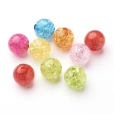 50pcs 10mm Round Transparent Crackle Acrylic Beads Mixed Color DIY Jewelry Craft