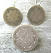Extraordinarily Engraved Set 1850s Dime & Half Dime  Lover tokens Earrings & Pin