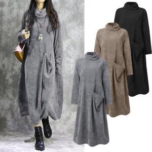 Automne et Hivre Femme Chaud Manche Longue Col Haut Confor Robe Dresse Maxi Plus