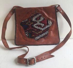 Vintage Leather Shoulder Bag Carpet Tapestry Woven Fabric Tooled Tan Boho Ethnic