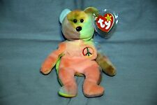 TY Beanie Baby Rare PEACE BEAR Original PVC with Tag Errors & No Stamp **MINT**