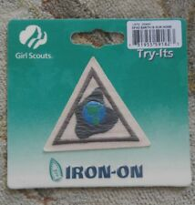 Brownie Girl Scouts EARTH IS OUR HOME Badge Try It Iron On Emblem Patch NIP
