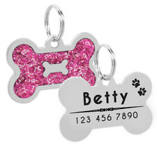 Personalised Dog Tags Puppy Pet ID Name Collar Tag Bone Glitter Engraved  Free