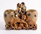 Antique Chinese Intricately Hand Carved Soapstone Brush Pots, Monkeys, Deer, Dog