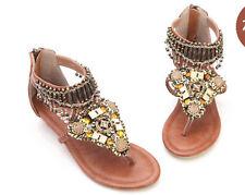 Boho Beach Rhinestone Pearl Indian Roma Sandal Flip Flop Women Gladiator Shoes