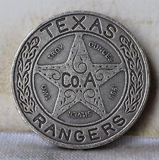 """2 OZ Texas Rangers .999 Silver Medal Round - Antiqued - Estados Mexicanos """"Unc"""""""