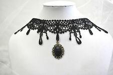 Black Lace Choker Cosplay Victorian Vintage Crystal Pendant Drop Necklace Collar