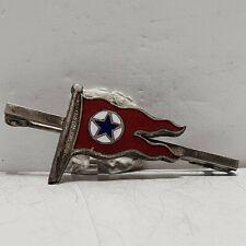 More details for blue star line enamel flag white metal 38mm bar brooch 20x16mm badge