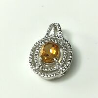 Pendant Yellow Topaz Natural Gemstone 3CT Solid Sterling Silver 925 Oval Shape