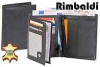 Rimbaldi® Herren Hochformat Geldbörse aus naturbelassenem Büffelleder in Schwarz