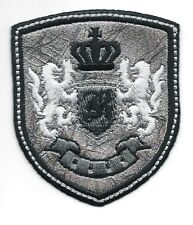 Silver Black Rampant Lion Crown Coat of Arms Crest Letter K Embroidery Patch