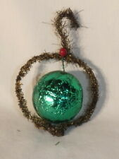 Vintage 1940s Christmas Green Foil Wrapped Cardboard With Tinsel Ornament
