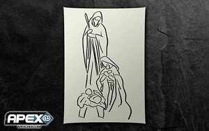 Religious Nativity Stencil - Airbrush, Sponging, Snowspray Xmas ST-CR-Relig01