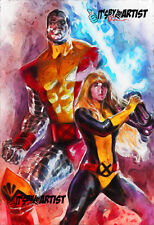 ACEO ATC Sketch Card - Colossus and Magik