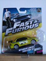 Rare Mattel Fast And Furious 1/55 Brian's Green Mitsubishi Lancer Evo 7