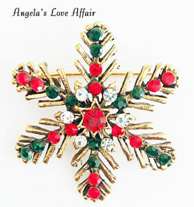 CHRISTMASY RED GREEN CLEAR CRYSTAL XMAS CHRISTMAS SNOWFLAKE BROOCH  PIN BADGE